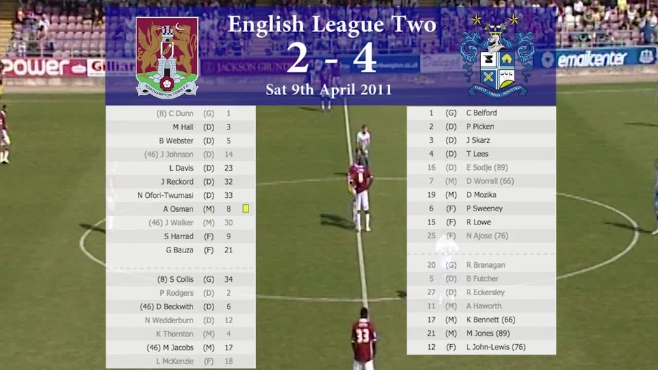 Click here to watch the Classic Match: Northampton Town 2 - 4 Bury - 2010/11 video
