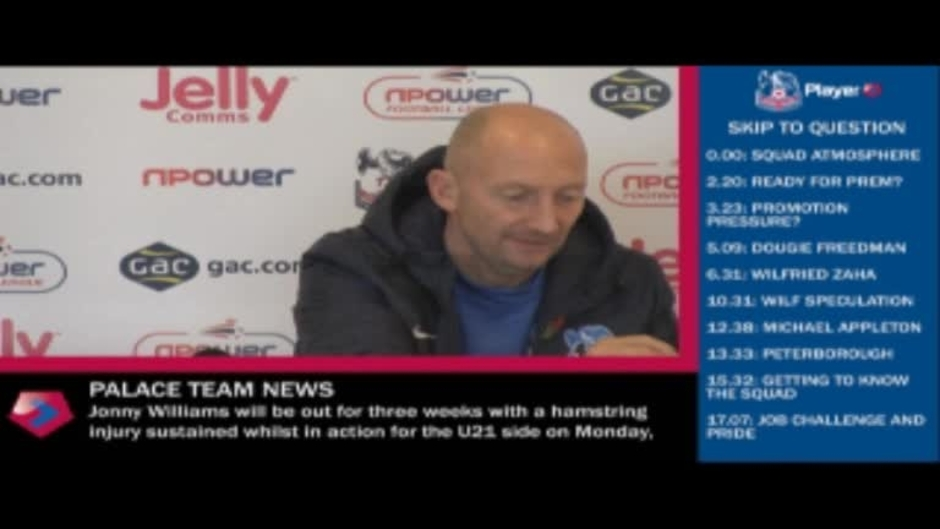 Click here to watch the VIDEO: Pre-Peterborough press conference video