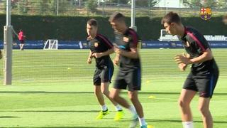 El primer entrenament de David Concha amb el Barça B