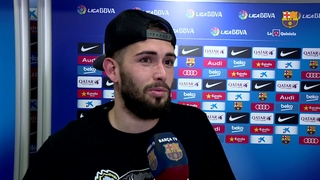 Aleix Vidal and Jordi Alba react to 2-1 win over Sevilla
