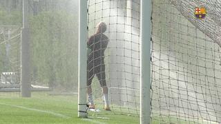 Primer entrenament d'Ortolà amb el Barça B