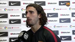 Marc Cucurella, Sergi Palencia i Oriol Busquets valoren el partit de Lliga contra el Huesca
