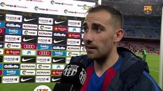 Les reaccions dels jugadors del Barça després de la victòria contra l'Osasuna