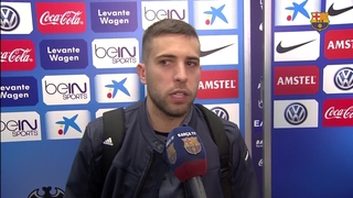 Jordi Alba's reaction to win at Levante