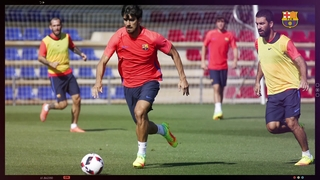 First team's goalkeeper's saves training at Ciutat Esportiva