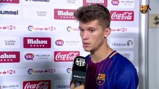 Els jugadors del Barça B valoren el partit de Lliga contra el Valladolid