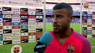 Rafinha, Rakitic and Digne reaction after Deportivo win