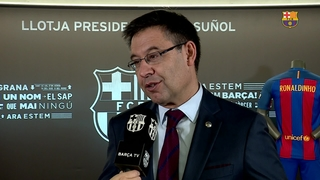 "Bartomeu: ""We are very happy because Ronaldinho is coming back home"""