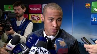 Reaccions dels jugadors després de la victòria contra el Bayer Leverkusen