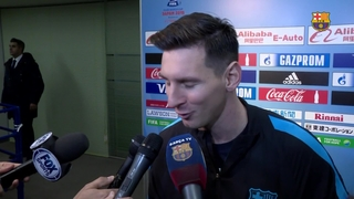 The FC Barcelona players react to their victory in the FIFA Club World Cup