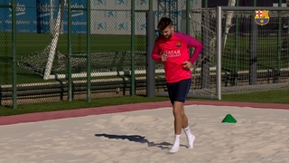 Gerard Piqué back in action as FC Barcelona train at Ciutat Esportiva