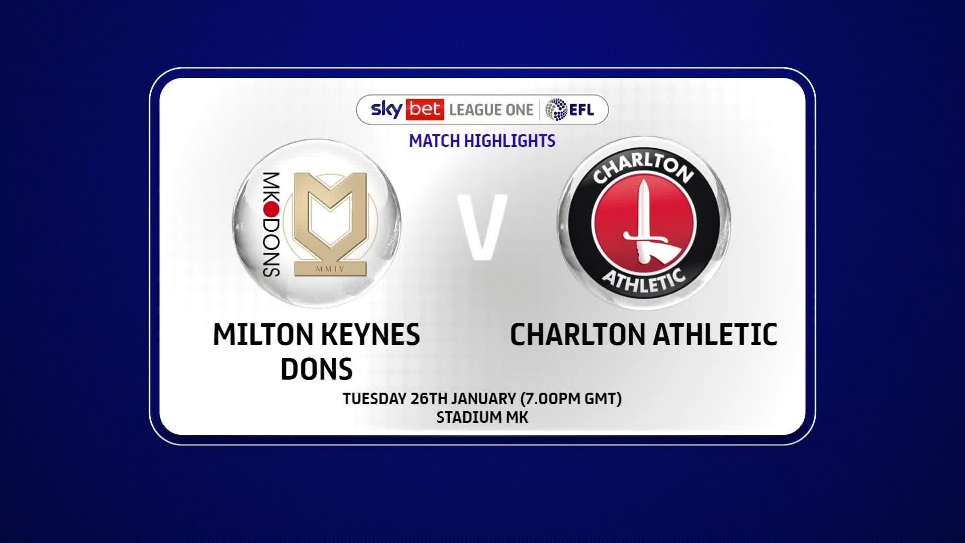 HIGHLIGHTS | Milton Keynes Dons 0 Charlton 1 (January 2021)