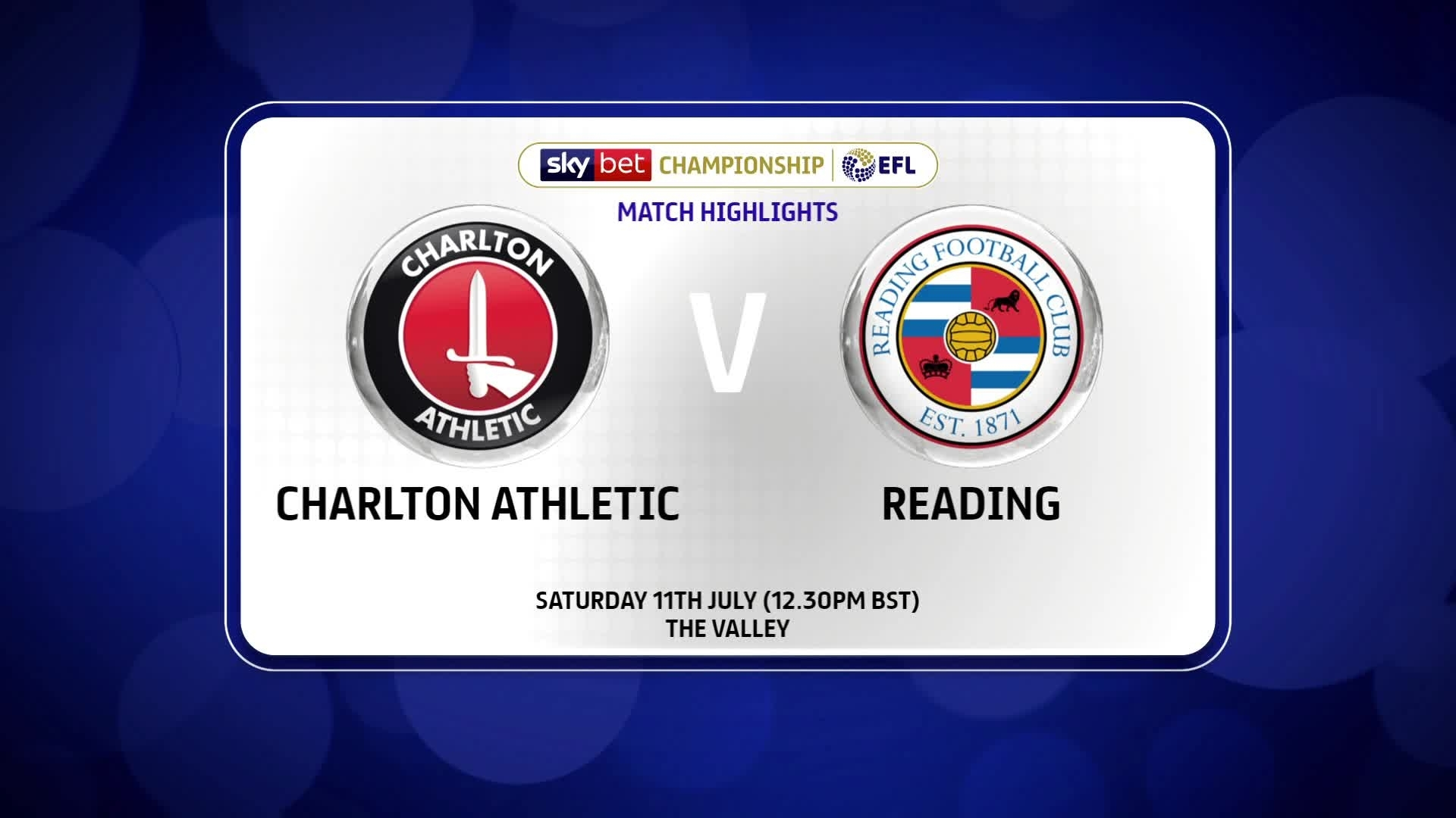 HIGHLIGHTS | Charlton 0 Reading 1 (July 2020)
