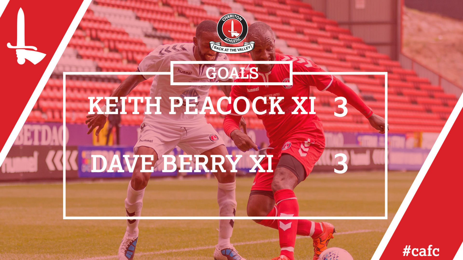 LEGENDS UNITED GOALS   Keith Peacock XI 3 Dave Berry XI 3