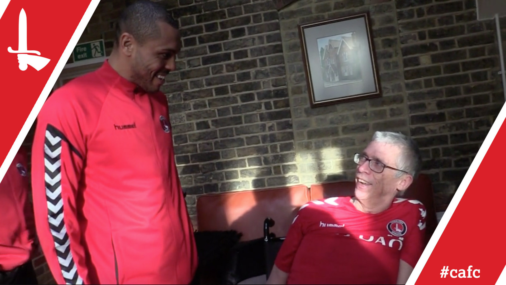 Josh Magennis and Chris Solly meet terminally-ill Addick Steve