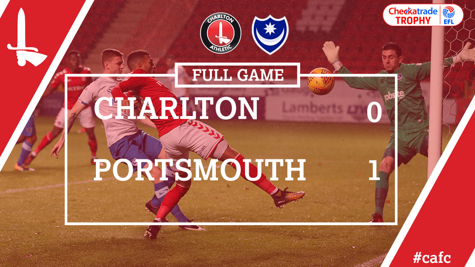 FULL GAME | Charlton 0 Portsmouth 1 (Checkatrade Trophy)
