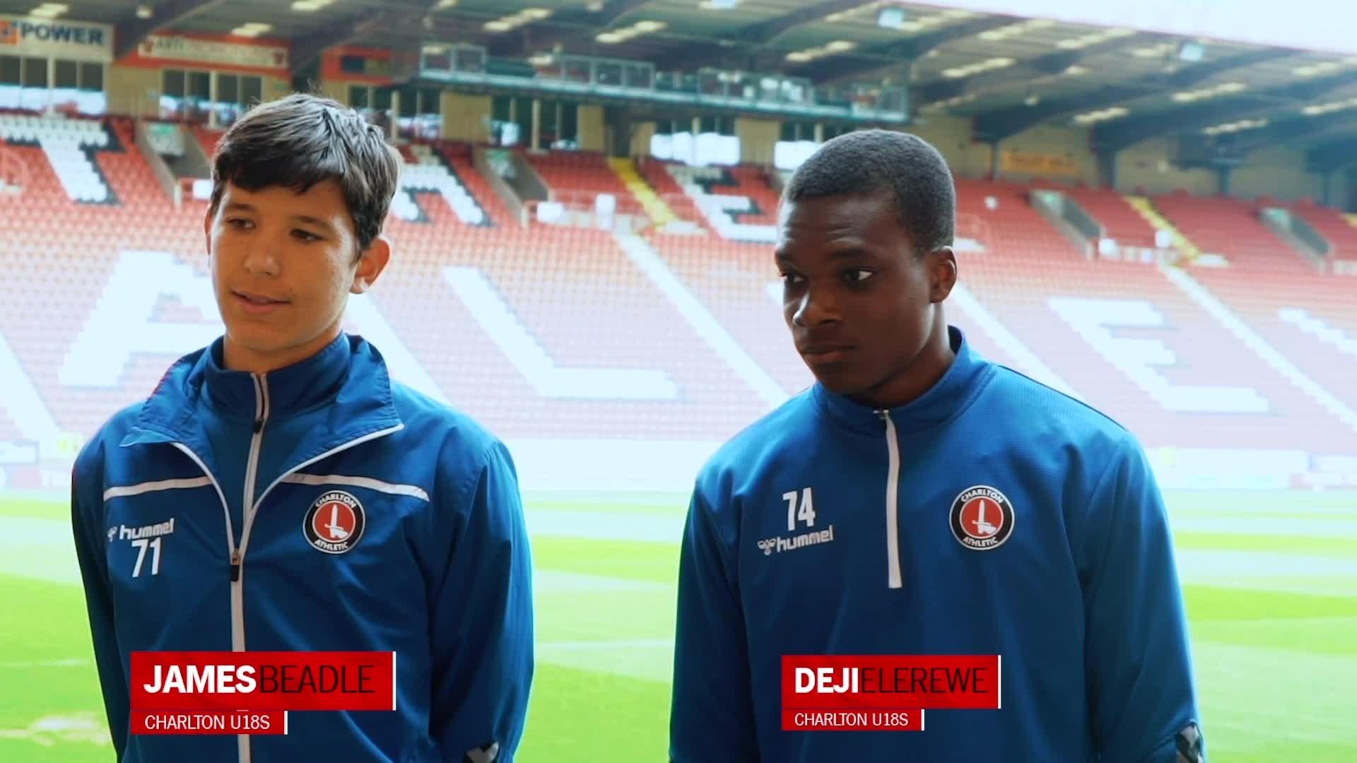 James Beadle and Deji Elerewe on Charlton U18s' play-off semi-final (May 2021)