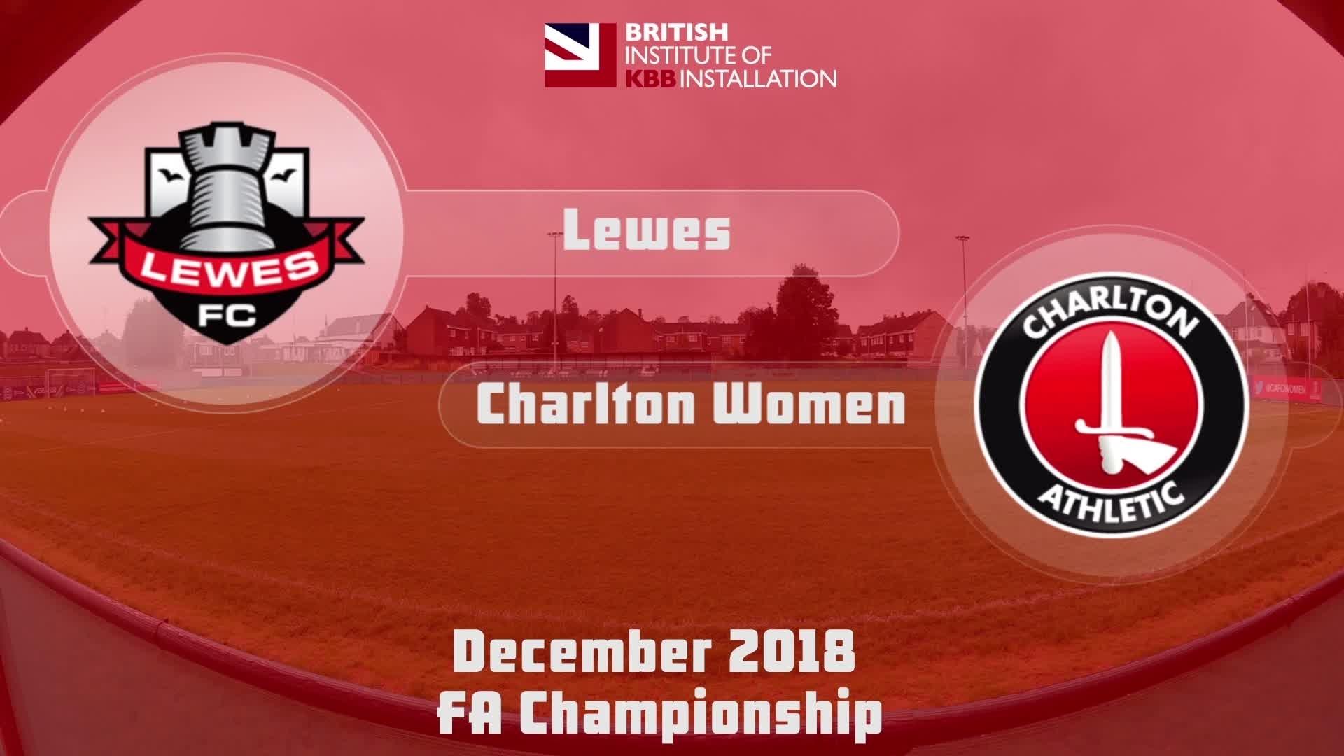 WOMEN'S HIGHLIGHTS   Lewes 0 Charlton 2 (Dec 2018)
