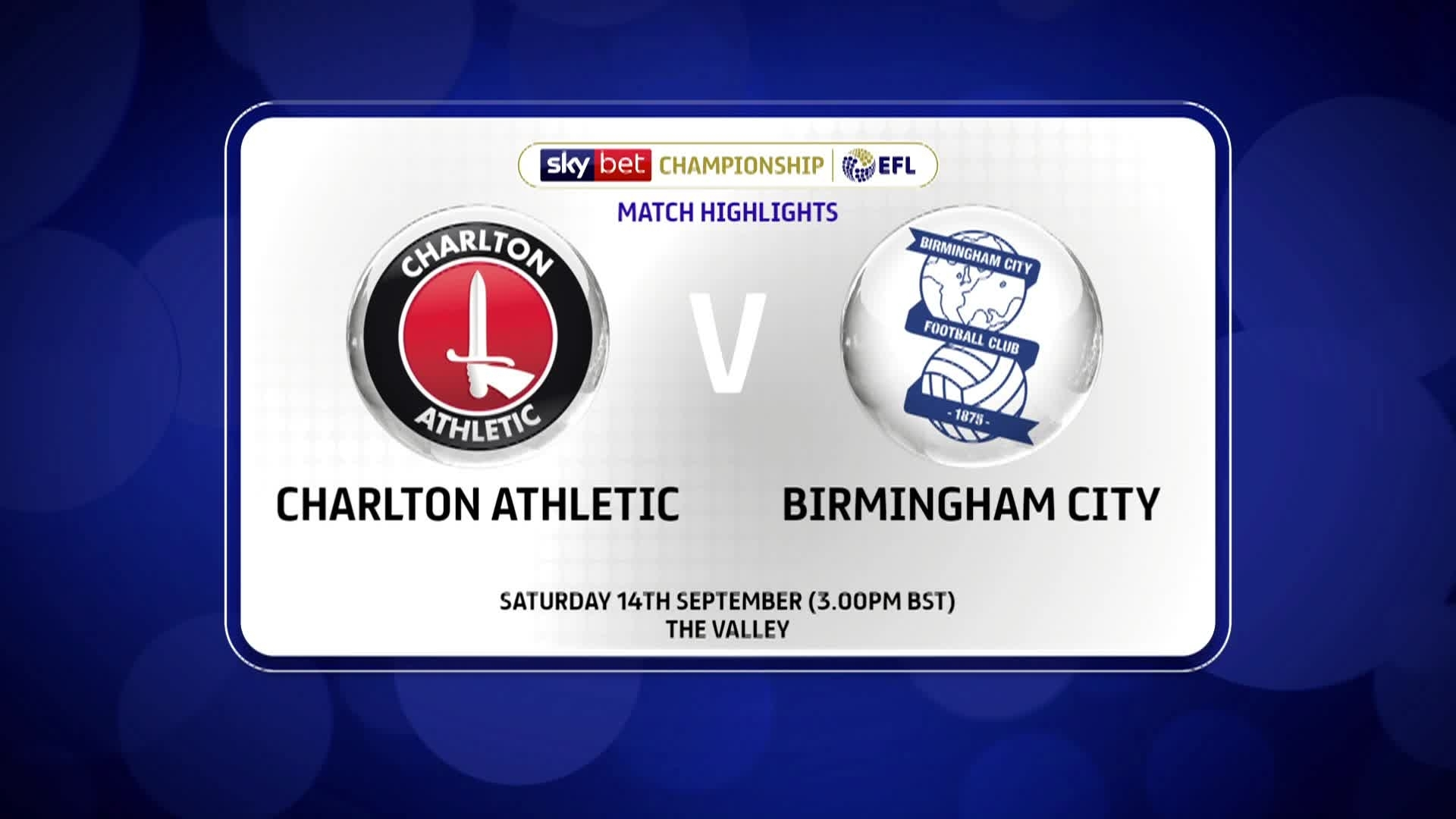 GOALS | Charlton 0 Birmingham City 1 (September 2019)