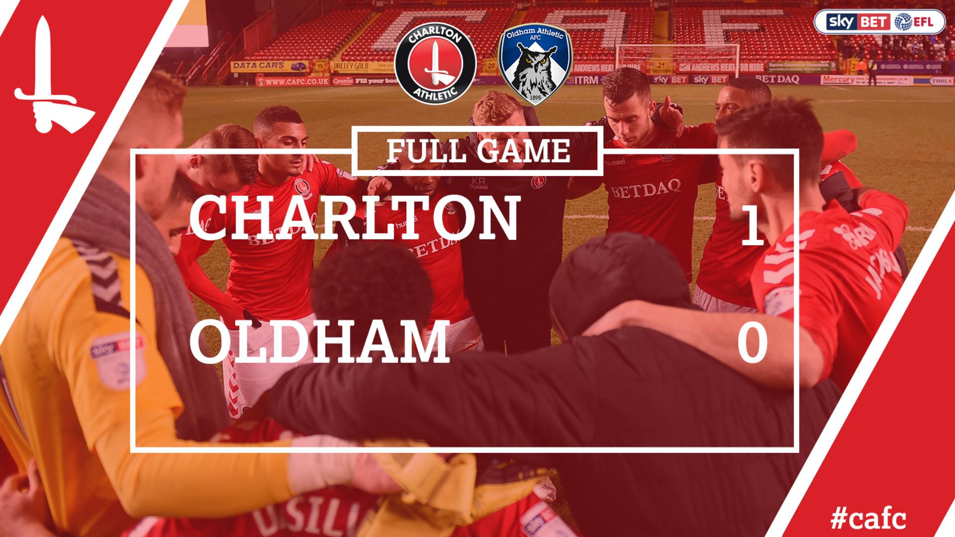 FULL GAME   Charlton 1 Oldham 0 (Jan 2017)