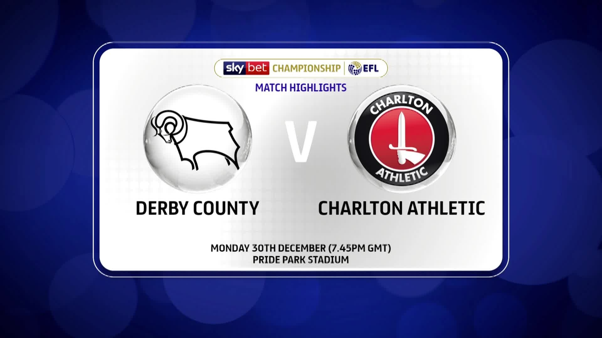 GOALS | Derby County 2 Charlton 1 (December 2019)