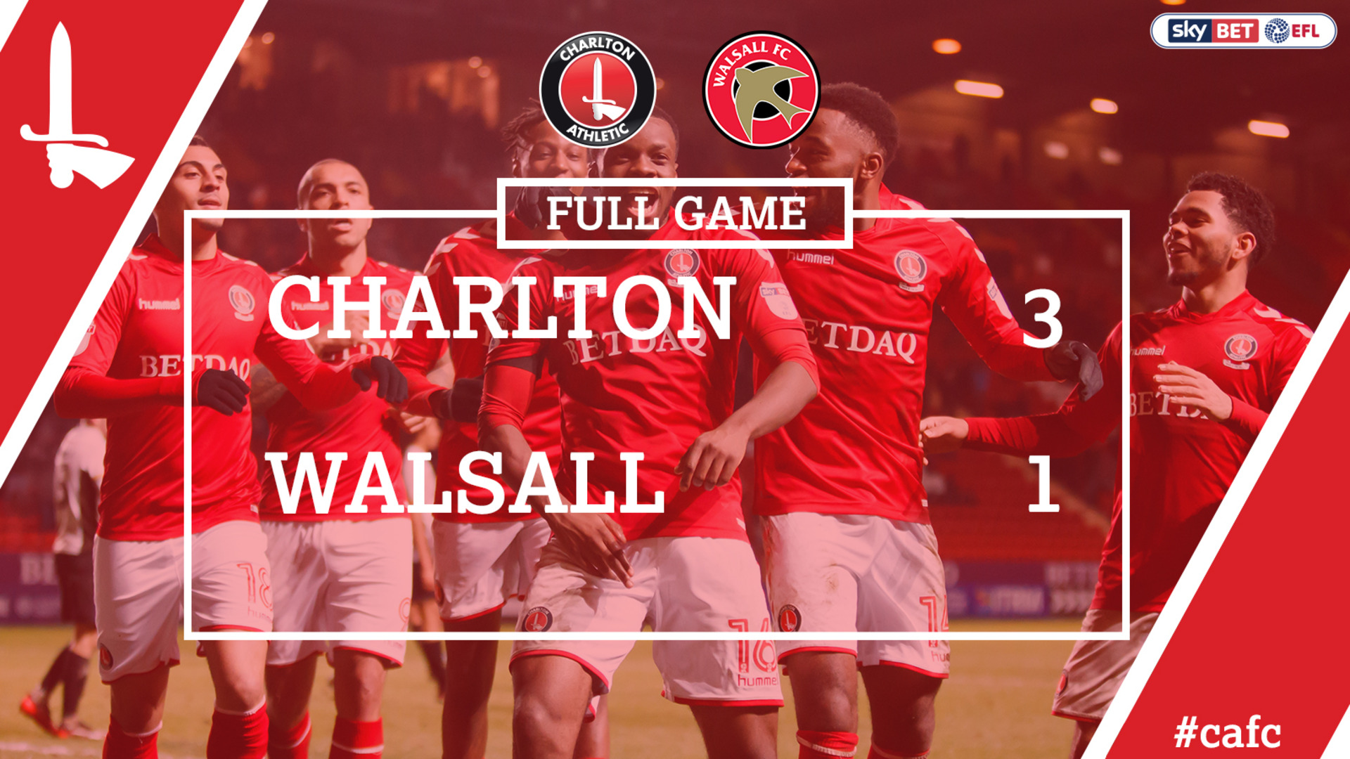 FULL GAME | Charlton 3 Walsall 1 (Jan 2018)