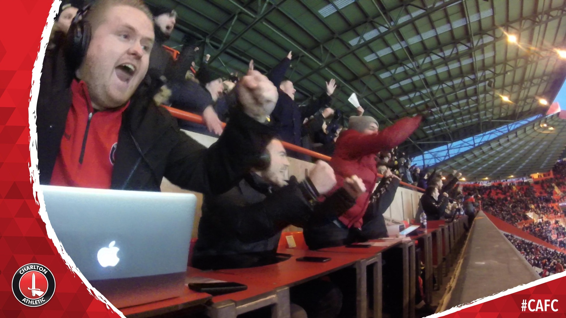 Lewis Page and Josh Cullen celebrate Charlton's equaliser against Sunderland in the commentary box