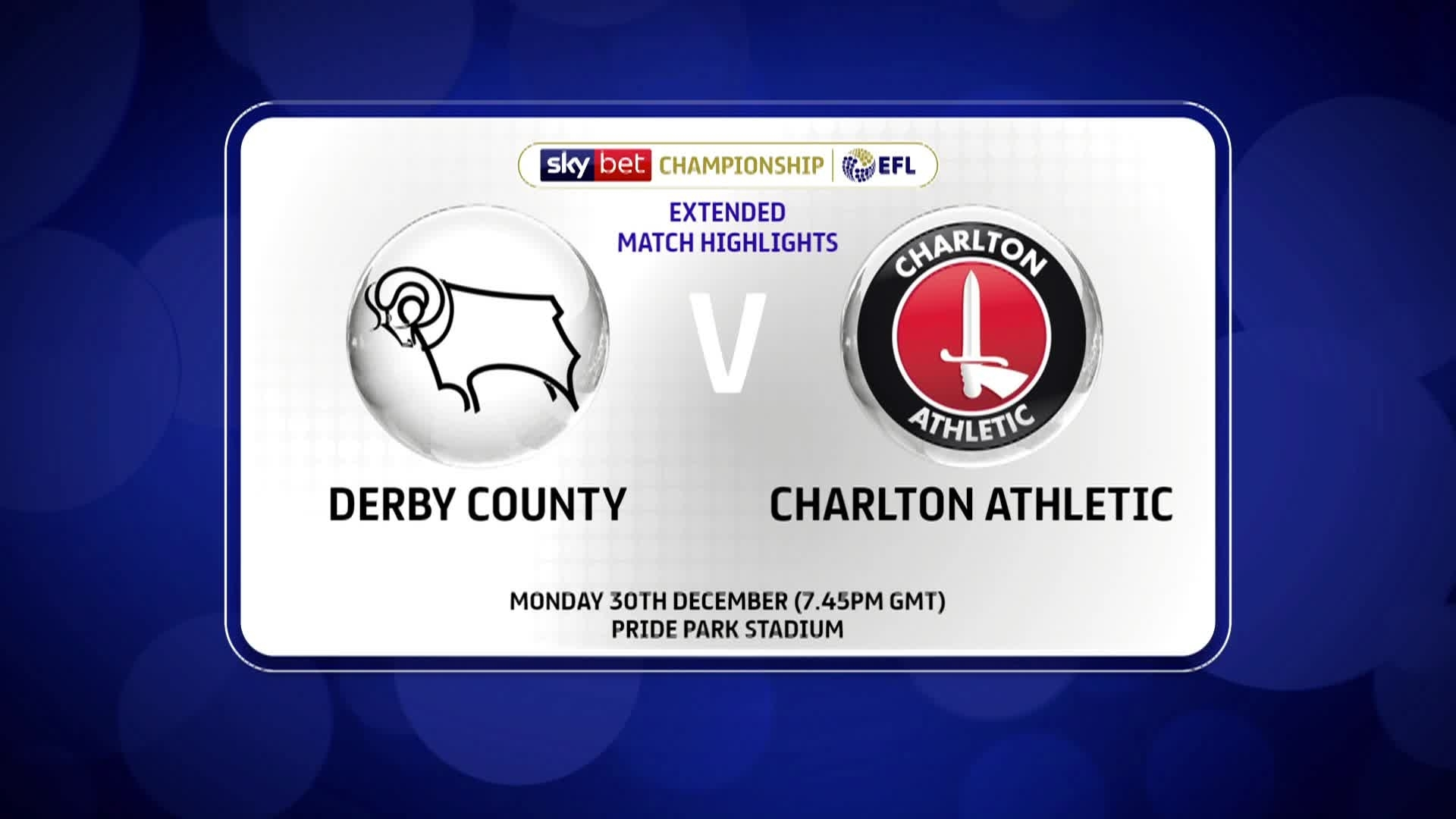 HIGHLIGHTS | Derby County 2 Charlton 1 (December 2019)
