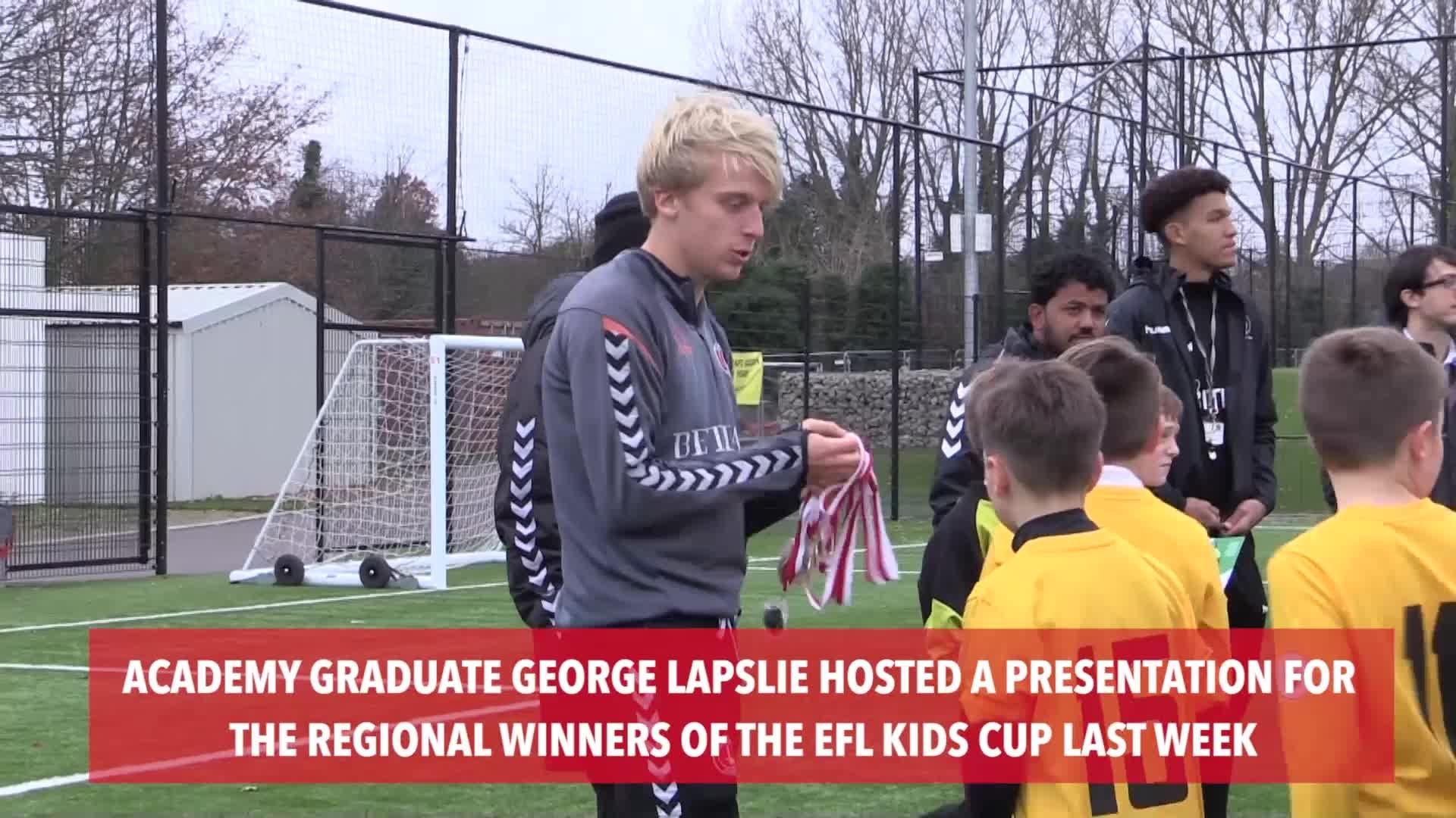 George Lapslie visits regional winners of EFL Kids Cup