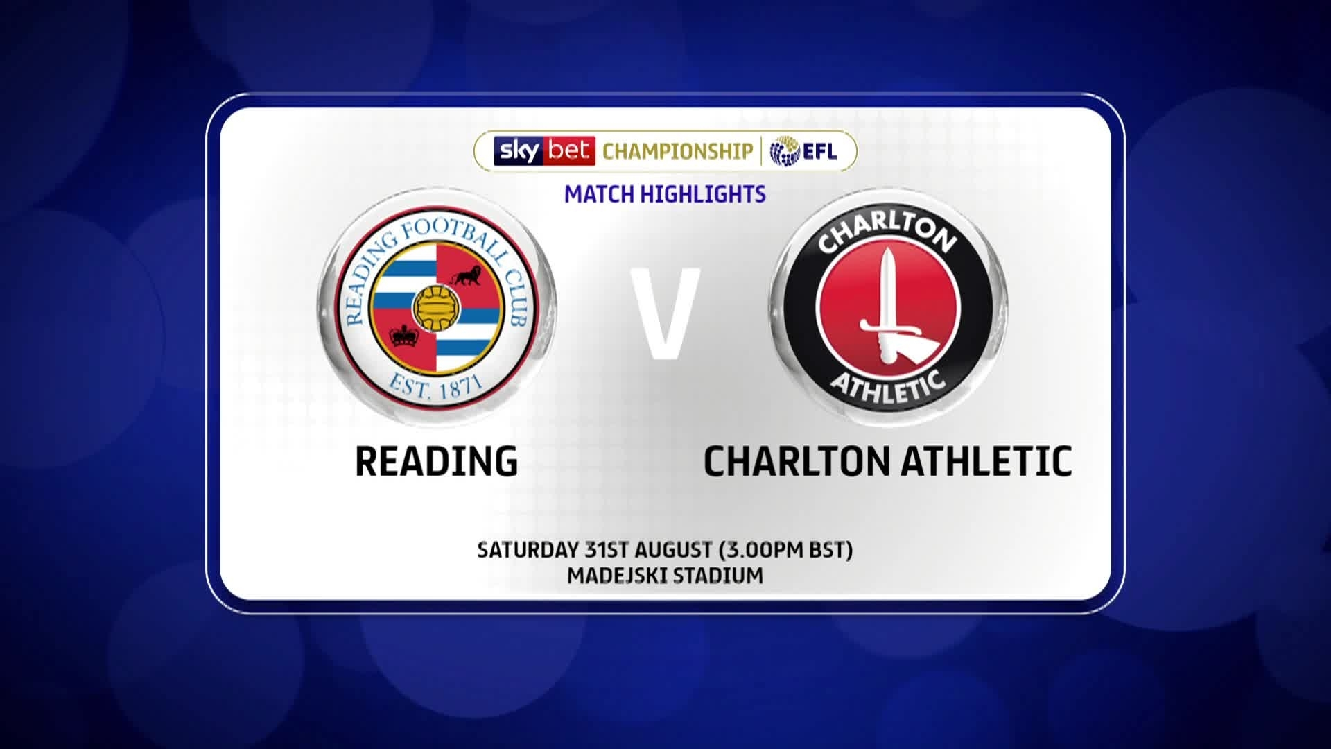 GOALS | Reading 0 Charlton 2 (August 2019)