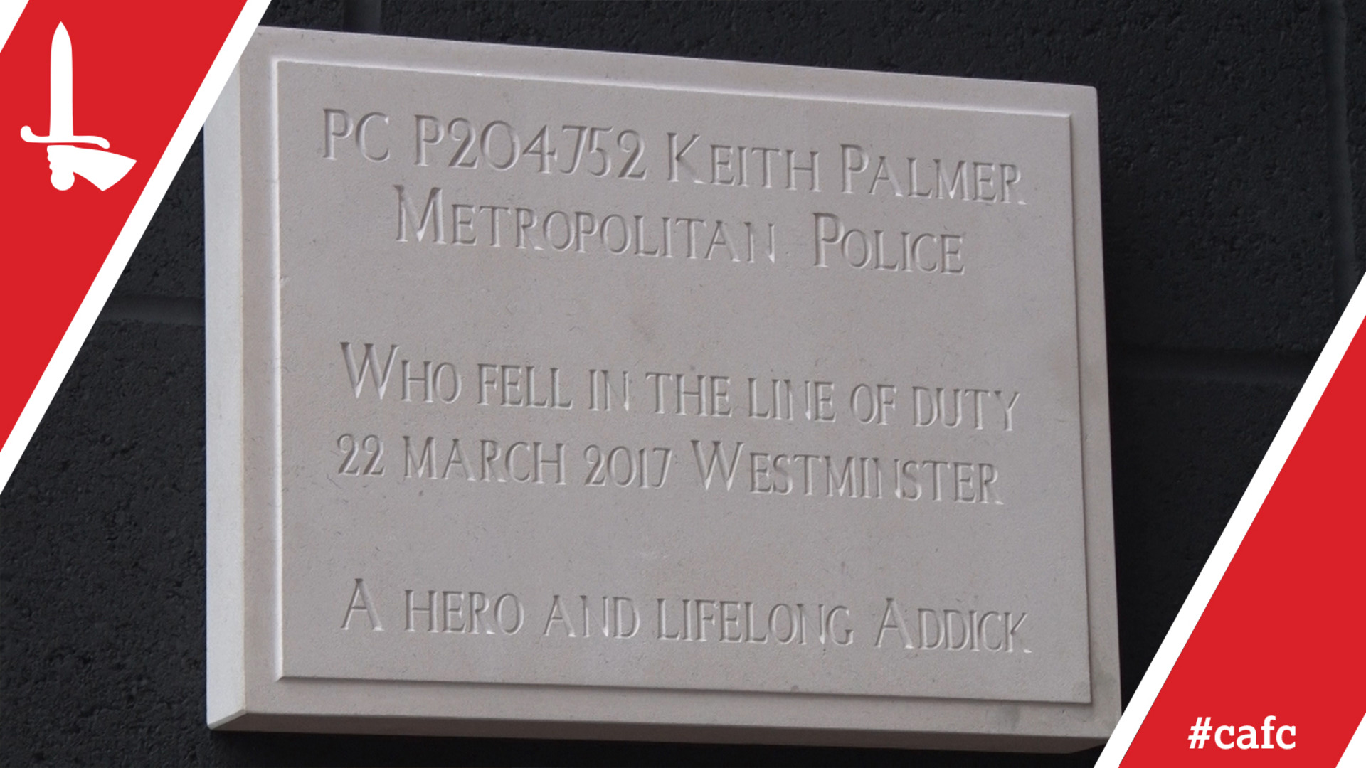 PC Keith Palmer memorial plaque unveiling