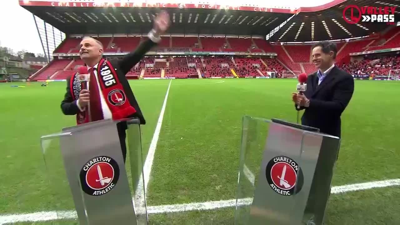 An emotional Thomas Sandgaard is welcomed by the Charlton fans (December 2020)